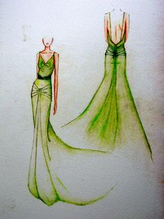 Original sketch of the iconic 1930's silk dress worn in the film Atonement by Keira Knightley.