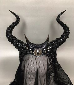 Black horns  horns with moon  Maleficent horns  headdress