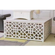 Exquisite Square White Honed Marble Coffee Table With Hand Carved Fretwork Pattern No Custom Sizes Available Also Available As: