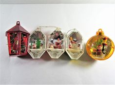 Christmas Diorama Ornaments Mixed Set of 5 by EtagereAntiques