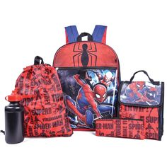 Enjoy exclusive for Spiderman Marvel Spiderman Backpack Combo Set - Marvels  Spiderman 5 Piece Backpack School Set (Red Blue) online - Allproclothing f74c5dee2a07b