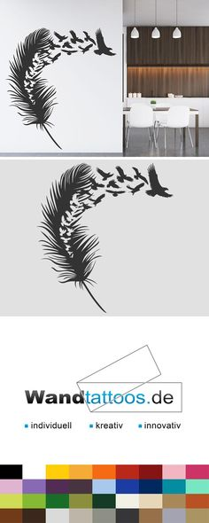 Wandtattoo Feder Mit Vogelschwarm Als Idee Zur Individuellen Wandgestaltung Einfach Lieblingsfarbe Und Grsse Auswhlen