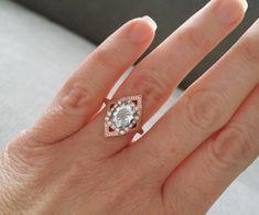 Elegant Aquamarine Diamond Engagement Ring Geometric by PenelliBelle