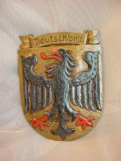 Vtg Deutschland Shield Plaque Black Falcon Eagle Bird 6 inch Souvenir Seller florasgarden on ebay