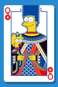 Ilustración súper paja // Marge and Maggie Simpson Playing Card