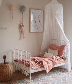 Happy new week! How pretty is this little girl's room by the lovely 👈🏻😍 Ferm Living Braided Apple basket is available online 💕 . Cottage Shabby Chic, Fantasy Bedroom, Toddler Rooms, Childrens Room Decor, Little Girl Rooms, Girls Bedroom, Nursery, Pretty Room, Baby Room
