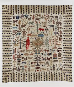 British Applique Bed Cover, 1851-1900 Victoria and Albert, folk arty silhouettes all over.
