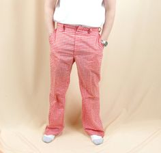 Mens Mod Pants * Red and White Gingham Pants * Cotton Pants * Mens Pants * Mens Mod Pants * Mens Golf Pants * Retro Pants * 60s Pants