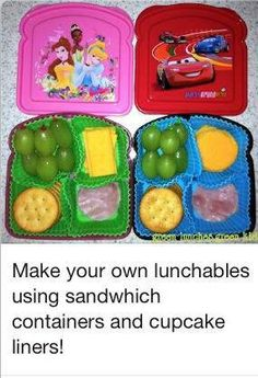 This is perfect for my daughter. Her allergies make it impossible for her to eat regular lunchables! Make your own lunchables in a sandwich box.Much healthier and cheaper than Oscar Mayer ones. Lunch Snacks, Healthy Snacks, Kid Lunches, Pre School Lunches, Creative School Lunches, Fruit Snacks, Eat Healthy, Toddler Meals, Kids Meals