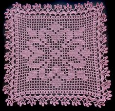 Pink filet crochet motiv, size: 31.5 cm x 31.5 cm / 12.4 inch x 12.4 inch used, good condition