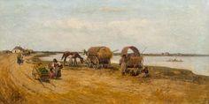 Franciszek Streitt: Cyganie w oczekiwaniu na przeprawę olej, płótno, 42 × 82 cm sygn. p.d.: F. Streitt
