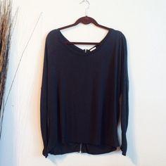 Zara long sleeve Zara navy gray long sleeve with zipper on back. Loose comfy fit. Wide neckline. I think it runs slightly big                                                         100% viscose Zara Tops Tees - Long Sleeve