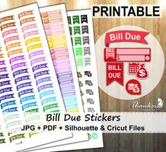 50% Sale, Bill Due Printable Planner Stickers, Erin Condren Planner Stickers, Bill Due Stickers, Printable Stickers, Bill Due - CUT FILES