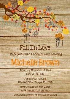 wood grain fall in love bridal shower invitation digital file diy printable wedding baby shower birthday