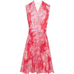 Carven Floral-print georgette mini dress (5,360 HKD) ❤ liked on Polyvore featuring dresses, red, short floral dresses, short wrap dress, mini dress, short red dress and wrap around dress