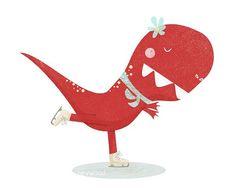 Dinosaur Art Print - Figure Skating Tyrannosaur