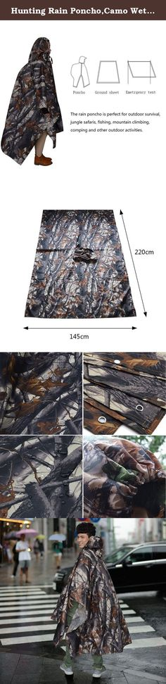 Hunting Rain Poncho,Camo Wet Weather Military Raincoat Multifunction Mantle Waterproof Mat Pad Hooded Ripstop Carpet for Adults. Size:220CM*145CM(86.6*57.09INCH) Weight:300g Package size:20CM*6CM(7.87*2.36INCH) Multipurpose:the rain poncho can be used in outdoor survival, jungle safaris, jungle camouflage, bird watching, fishing, mountain climbing, hiking, comping and other outdoor activities. .