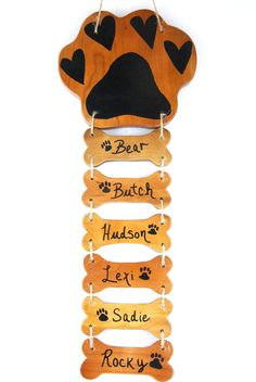 Dog Name Sign Custom Personalized Bone and Paw by DogLoverStore, $14.95