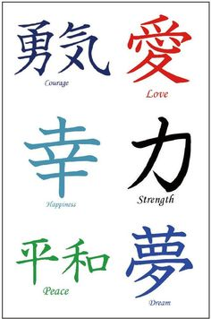 Kanji Tattoos: Japanese Chinese Asian Characters