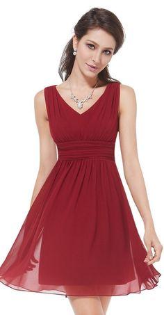 Red Sleeveless v-neck short bridesmaid dress. Unique ruched waist design, elegant silhouette,  simple, versatile design. // http://www.cutedresses.co/go/Short-Sleeveless-Empire-Waist-Bridesmaids-Dress