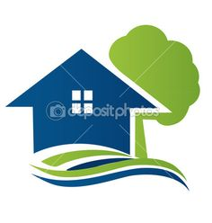 House with tree and waves logo vector — Stock Illustration #19393177