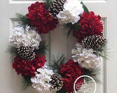 Christmas Wreath, Holiday Wreath, Hydrangea Wreath, Red White Wreath, Winter Wreath, Wreath Street Floral, Grapevine Wreath, Door Wreath