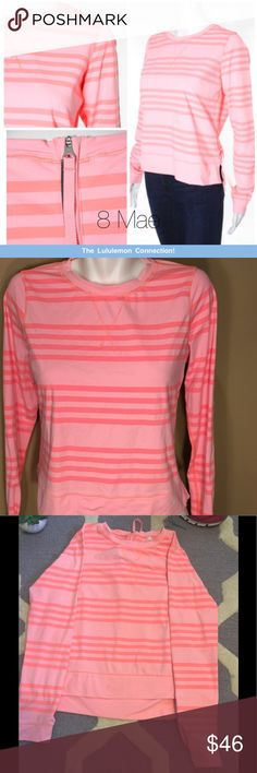 Lululemon *rare Pink Crewneck *excellent condition This rare Lululemon pink crewneck is made with light weight Power Luxtreme panels to wick sweat away. It has a zipper in the back with a pull string for easy zipping ability.  * Comes from a clean, smoke free home Message me with any questions! ☺️😊 Happy Poshing! lululemon athletica Tops Tees - Long Sleeve