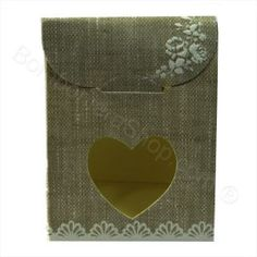 Beige shabby chic favour box with heart shaped window cute idea for a #diy #wedding #favour #favor. So easy to make just add candy. http://www.bombonierashop.com/en/department/4/Wedding-Favours.html