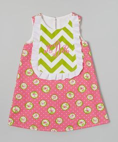 Another great find on #zulily! Caught Ya Lookin' Pink & Green Monogram Shift Dress - Infant, Toddler & Girls by Caught Ya Lookin' #zulilyfinds