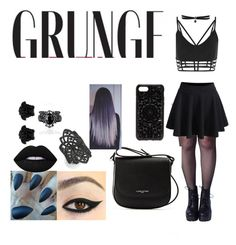 """""""· i'm all about that grunge ·"""" by daddyky on Polyvore featuring WithChic, Lancaster, nOir, Versace, Fallon, Felony Case, black and grunge"""