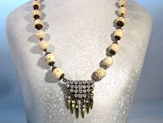 Natural Magnesite Beaded Necklace with by blingbychristine on Etsy, $28.00