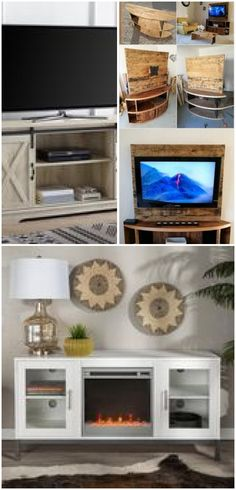 Farmhouse Fireplace TV Stand Console in Distressed Barnwood w/ Sliding Barn Doors by Legends Furniture , , Distressed Doors, Legends Furniture, Tv Stand Console, Fireplace Furniture, Fireplace Tv Stand, In Distress, Farmhouse Fireplace, Barn Doors, Sew