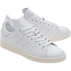 ADIDAS ORIGINALS Stan Smith Cracked White // Leather sneaker (£70) ❤ liked on Polyvore featuring shoes, sneakers, adidas originals shoes, white sneakers, adidas originals, leather trainers and real leather shoes
