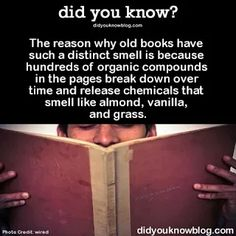 No wonder I love the smell of books so much, I adore all those scents.