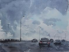 Watercolor painting «Before the rain» by Ekaterina Gubina
