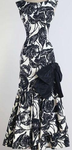 Henry Harris - Robe de Cocktail - Faille et Coton Noir et Blanc, Gros Noeud à la Cuisse - Années 50