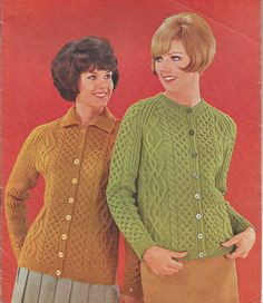 Vintage Ladies Aran Jacket/ Cardigan Knitting Pattern This retro pattern features a Traditional Aran Jacket with 3 beautifully designed cables, raglan sleeves and your choice of round neck or collared. Size: 34(36;38;40)in chest Worsted Weight Yarn/Aran Weight Wool No. 10, No. 7/
