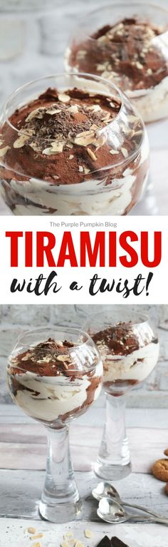 Tiramisu - with a twist! This recipe is a delicious twist on an original tiramisu, perfect for dinner parties as it is made in individual portions. I don't think there is an easier dessert to make than this Italian classic! via @mspurplepumpkin