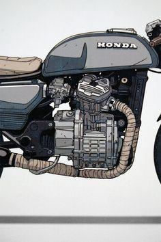Moto-Mucci: ART&DESIGN: Ian Galvin CX500 Illustrated Prints