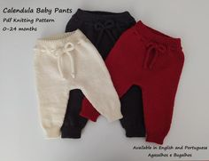 The Calendula Baby Pants Knitting Pattern is a lovely model that suits both boys and girls. These baby pants are worked in the round from the top down, in stocking stitch. FULL INSTRUCTIONS ARE GIVEN IN THE PATTERN. The step by step instructions have lots of photos and size colour codes to help you Knit Baby Pants, Baby Pants Pattern, Baby Knitting Patterns, Baby Patterns, Baby Pullover, Baby Cardigan, Winter Baby Clothes, I Cord, Dk Weight Yarn