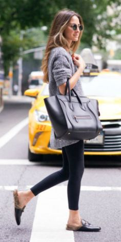 Arielle Nachami + chunky grey knit sweater + black leggings + retro sunglasses + leather + fur loafers + black leather tote  Leggings: Solow, Sweater: NastyGal, Shoes: Gucci, Bag: Celine. Sunglasses: Ray #rayban
