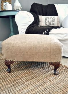 DIY burlap ottoman, find an old cheap footstool or ottoman at a thrift store and just cover with burlap or canvas Burlap Ottoman, Ottoman Slipcover, Slipcovers, Diy Ottoman, Ottoman Cover, Burlap Rug, Burlap Curtains, Hessian, Burlap Projects