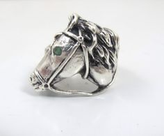 Vintage Sterling Horse Head Ring Emerald Eye by TonettesTreasures