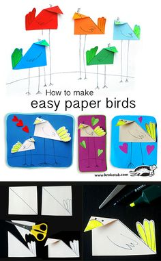 How to make easy paper birds - Einrichtungsstil Creative Arts And Crafts, Fun Crafts To Do, Easy Crafts For Kids, Hobbies And Crafts, Art For Kids, Origami And Quilling, Paper Crafts Origami, Unicorn Diy, Animal Crafts For Kids