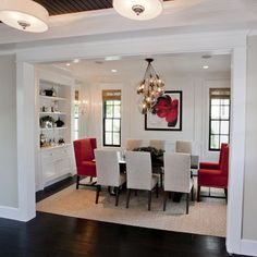 Traditional Dining Room Grey,red,black Dining Room Design, Pictures, Remodel, Decor and Ideas