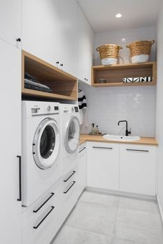 43 Best And Stylish Small Laundry Room Hacks - Modern Laundry Room Layouts, Laundry Room Cabinets, Small Laundry Rooms, Laundry Room Organization, Laundry Room Design, Laundry In Bathroom, Laundry Decor, Diy Cabinets, Farmhouse Cabinets