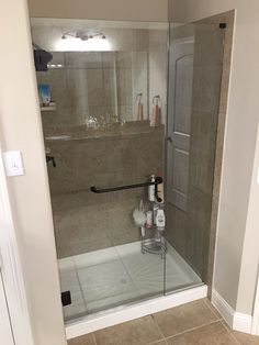 Inline shower with door and panel, Oil Rubbed Bronze finish, BM style hand/ towel bar combination handle
