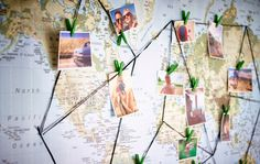 IKEA Interior Designer Jenny Wik likes to display her summer memories by visualizing the entire trip using a world map on the wall and the most symbolic pictures from each place she visited. She used string and pins to 'connect the dots'. Then she clipped the pictures to the string using pegs, so she can change them whenever she wants.
