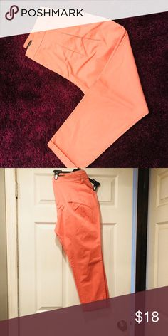 Zara coral trousers Zara Coral trousers. Perfect for spring. Size large but waist was taken in about 2 inches. Never worn. Zara Pants Trousers