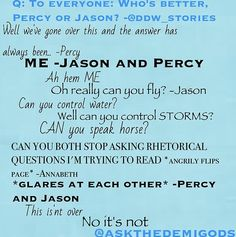 Who's better? Who do you think? Percy or Jason? Please comment answer